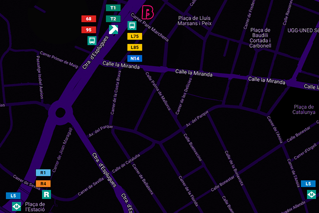 Mapa transportes Brutal Cornellà